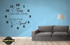 Wall Art Decal Large Clock Time Spent With Family Is Time Well Etsy