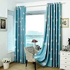 Amazon Com Absolutely Blackout Curtains For Kids Room 2 Layers Lined Curtains For Boys Girls Room Set Of 2 Blue Cloud 2 X 39 X 84 Inch Kitchen Dining