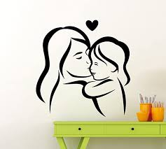 Amazon Com Mother And Daughter Wall Vinyl Decal Mother Love Sticker Home Art Interior Decoration Any Room Mural Waterproof Vinyl Sticker 60lo Kitchen Dining