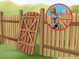 How To Build A Wooden Gate 13 Steps With Pictures Wikihow Wood Fence Gates Wooden Gates Building A Wooden Gate