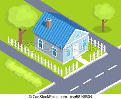 Cottage Two Storey House Side View With Fence Cottage Two Storey House Side View Surrounded By Road From Both Sides With