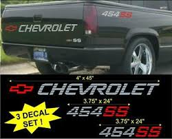 Chevrolet 454 Ss Lg Tailgate Bed Vinyl Vehicle Decal Stickers Set 1990 S Truck Ebay