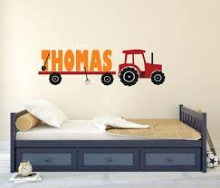 Tractor Wall Decal Tractor Name Decal Personalized Tractor Etsy Wall Decals For Bedroom Wall Decals Name Wall Decals