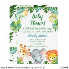 Boys Wild One Safari Animals Baby Shower Invitation Zazzle Com