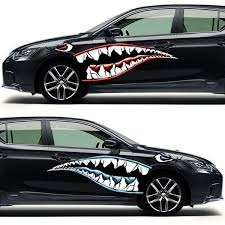 2pcs Funny Car Body Stickers Flying Shark Mouth Jaws Decal Stickers Creative Door Side Stickers Wish
