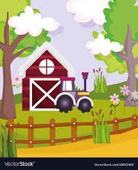 Barn Tractor Fence Flowers Plants Trees Farm Vector Image