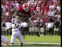 Knowshon Moreno hurdles Central Michigan defender - YouTube