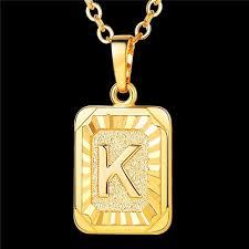initial pendant necklace letter k