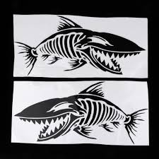 Set 2 Skeleton Fish Decal Stickers For Boat Jetski Surfboard Car Truck Rowing Boats Aliexpress