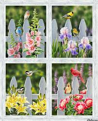 Morning Song Fence Post Birds 35 X44 Panel Digital Print Morning Songs Panel Quilts Quilts
