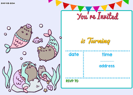 Free Printable Birthday Invitations Online Cumpleanos Pusheen