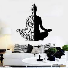 Healthy Lifestyle Sports Wall Decals Meditation Yoga Wall Stickers Buddha Wall Art Mural For Yoga Studio Home Decoration H064 Yoga Wall Stickers Wall Stickersports Wall Decals Aliexpress