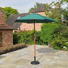 2 4m wooden green garden parasol