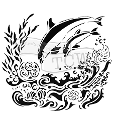 Image result for stencil with dolphins