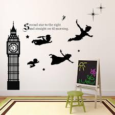Amazon Com Kids Room Decor Peter Pan Scene Silhouettes Themed Vinyl Stickers For Kids Playroom Boy Or Girl Bedroom Second Star To Right And Big Ben Clock Various Color Options Handmade