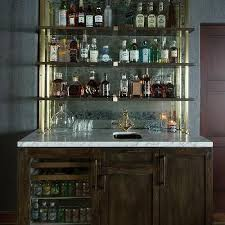wet bar with shelves on antique mirror