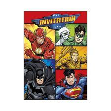 Juego 8 Invitaciones Cumpleanos Liga De La Justicia Envios 24