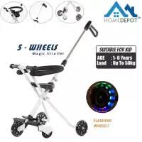 Kids 5 Wheels Magic Stroller Strong Foldable Bike Trolley With Safety Fence Lazada