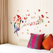 Colorful Feather Musical Note Butterfly Birds Wall Art Mural Poster The Song Of Birds Wall Decals Quote Transparent Pvc Wallpaper Decor Art Removable Wall Decal Removable Wall Decals From Magicforwall 5 02 Dhgate Com
