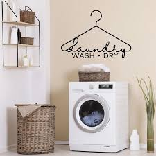 Laundry Wash Dry Wall Decal Laundry Room Wall Decor Removable Waterproof Vinyl Stickers Wallpaepr Washing Clothes J07 Wall Stickers Aliexpress