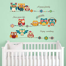 Amazon Com Decalmile Cartoon Owl Kids Wall Stickers Music Note Flowers Wall Decals Baby Nursery Childrens Bedroom Wall Decor Kitchen Dining