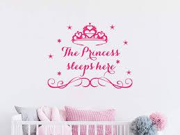 Amazon Com Princess Sleeps Here Wall Decal Quote Crown Stars Nursery Decor Princess Vinyl Sticker Nursery Wall Decals Girl Bedroom Decor Nn44 Handmade