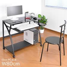 glass top plate pc desk compact