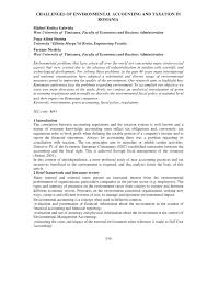 PDF) CHALLENGES OF ENVIRONMENTAL ACCOUNTING AND TAXATION IN ROMANIA