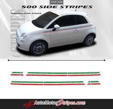 2007 2018 Fiat 500 Italian Side Accent Red And Green Door Stripes Vinyl Graphic Kit Autos Personalizar