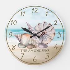 watercolor beach seas large clock