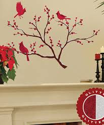 Glitter Cardinals Branches Wall Decal Set Zulily Wall Decals Cherry Blossom Branch Creative Christmas Crafts Christmas Decals
