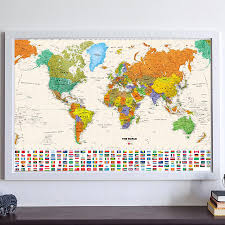 Canvas Vintage World Map Of Country Flag Retro Oil Painting Print Living Room Wall Art Crafts Sticker Bar Cafe Poster And Maps Belecthleen
