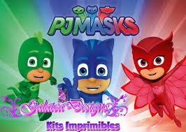 Kit Imprimible Pj Mask Heroes En Pijama Tarjetas Cumple 2kit