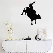Amazon Com Weslu Diy Removable Vinyl Decal Mural Letter Wall Sticker Bull Rider Graphic For Nursery Kids Room Living Room Bedroom Home Kitchen