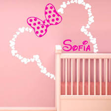 46x42 Mickey Mouse Ears Minnie With Bow Baby Name Wall Decal Custom Bed M1605 Ebay