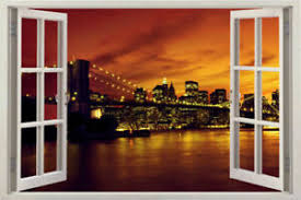 3d Window New York City Skyline Brooklyn Bridge Window Decal Decor Wall Stickers Ebay