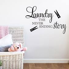 Laundry Room Wall Sticker Laundry The Never Ending Story Clothespin Wall Decals Laundry Washroom Art Murals Decoration Wallpaper Nordic Wall Decor