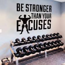 Be Stronger Than Your Excuses Quote Wall Vinyl Decals Poster Gym Motivational Lettering Wall Sticker Muscle Man Mural Az998 Wall Stickers Aliexpress