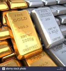 Los lingotes de plata y oro de Closeup bullions en la bóveda del ...