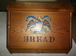Vintage Wood Wooden Bread Box Eagle Shield Decal Patriotic Handcrafted Large 1846293058