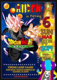 Goku Black Zeno Sama Birthday Invitation Tarjetas De