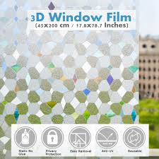 1 Roll 3d Decorative Window Privacy Film Window Vinyl Clings Stained Glass Window Decals Static Cling Window Sticker Removable Non Adhesive Anti Uv 17 8 X 78 7 Inches Walmart Com Walmart Com