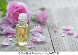 rose essential oil glass vial with