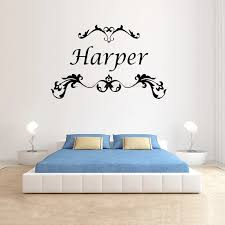 Wall Decals Nursery Baby Girl Name Wall Decal Custom Vinyl Lettering Personalized Wall Art Scroll Decal Name Decals Girl Dz026 Wall Stickers Aliexpress