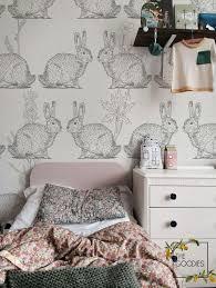 rabbit wall mural nursery wallpaper