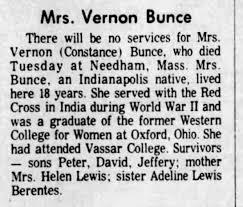 Constance Lewis Bunce- death - Newspapers.com