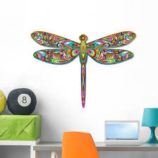 Psychedelic Colorful Dragonfly Wall Decal Wallmonkeys Com