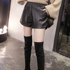 pu leather shorts women s black high