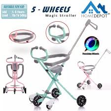 Magic Stroller 5 Wheels Bull Handle Baby Kids Children Artifact Tricycle Strong Bike With Safety Fence Flash Wheels Lazada Ph