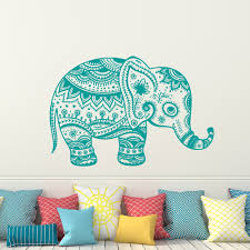Indian Elephant Wall Decal Floral Elephant Patterns Yoga Decals Home Decor Vinyl Wall Sticker Nursery Bedroom Mural M 112 Vinyl Wall Stickers Elephant Wall Decalwall Sticker Aliexpress